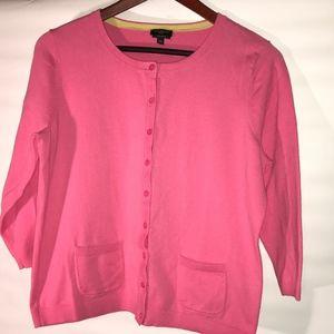 Talbots Petite Pink cardigan 3/4 sleeves Large